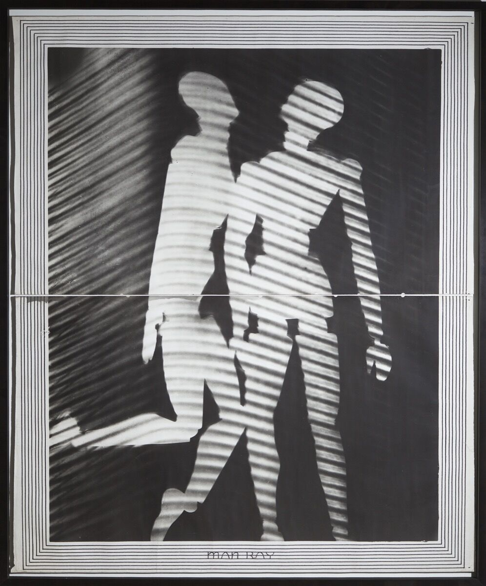 May Ray, Enlargement of Tapestry Project (Projet pour une tapisserie), 1938. Two-panel copy photograph of a rayograph. © Man Ray 2015 Trust / Artists Rights Society (ARS), NY / ADAGP, Paris 2019. Courtesy of Kicken Berlin and the Barnes Foundation, Philadelphia.