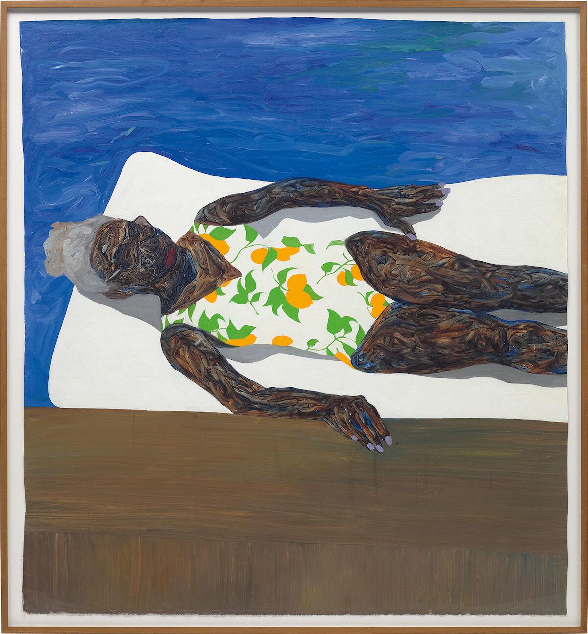 Amoako Boafo, The Lemon Bathing Suit, 2019. Sold for £675,000 ($875,000). Courtesy Phillips.