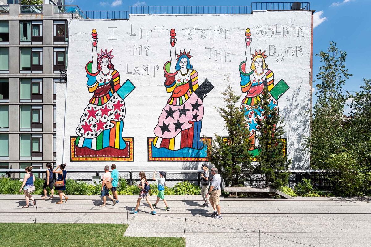 Dorothy Iannone, I Lift My Lamp Beside the Golden Door, 2018, New York. Image courtesy of Tim Schenck and Friends of the High Line.