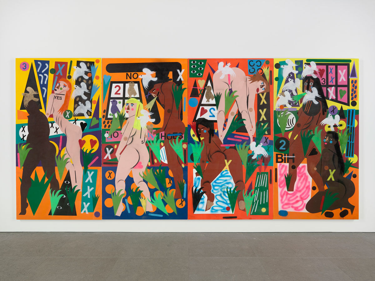 Installation view of Nina Chanel Abney, Hothouse, 2016, at the Whitney Museum of American Art, New York. Photo courtesy of the artist and Kravets Wehby Gallery.