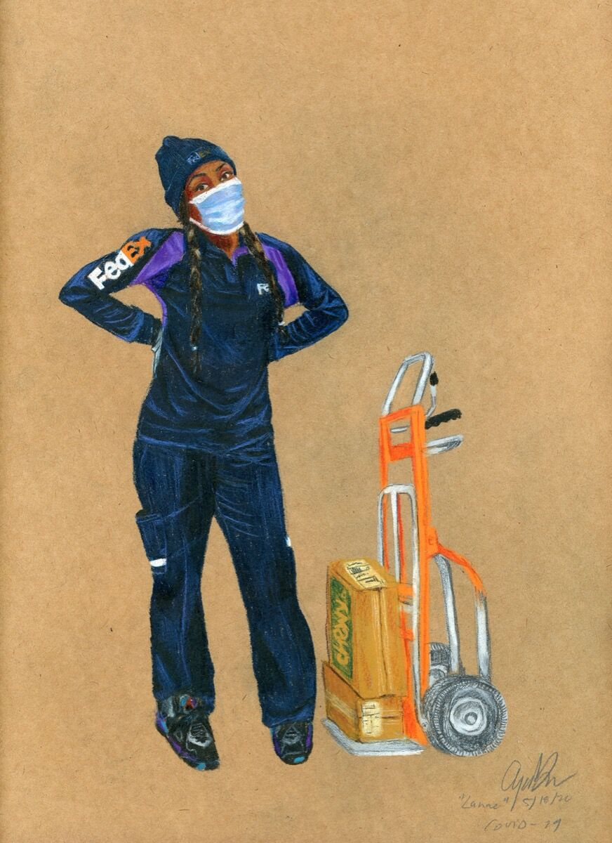 "Aya Brown, ""Lanae"" Fedex Worker, COVID-19, 2020. Courtesy of the artist."
