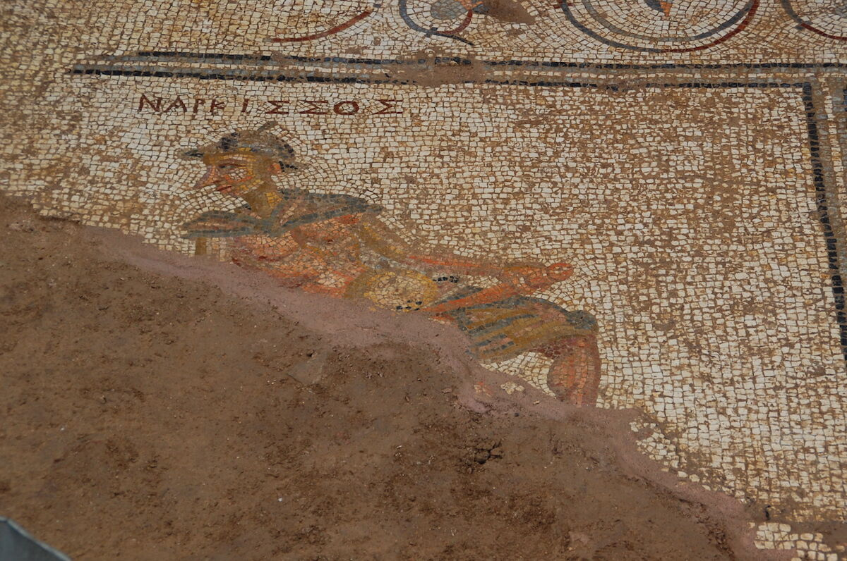 A second-century mosaic of Narcissus. Photo courtesy the Antiochia ad Cragum Archaeological Research Project.