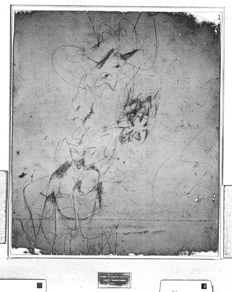 Digitally enhanced infrared scan of Robert Rauschenberg's Erased de Kooning Drawing, 1953, showing traces of the original drawing by Willem de Kooning. Visible light scan by Ben Blackwell, 2010. Infrared scan and processing by Robin D. Myers, 2010. Courtesy of San Francisco Museum of Modern Art.