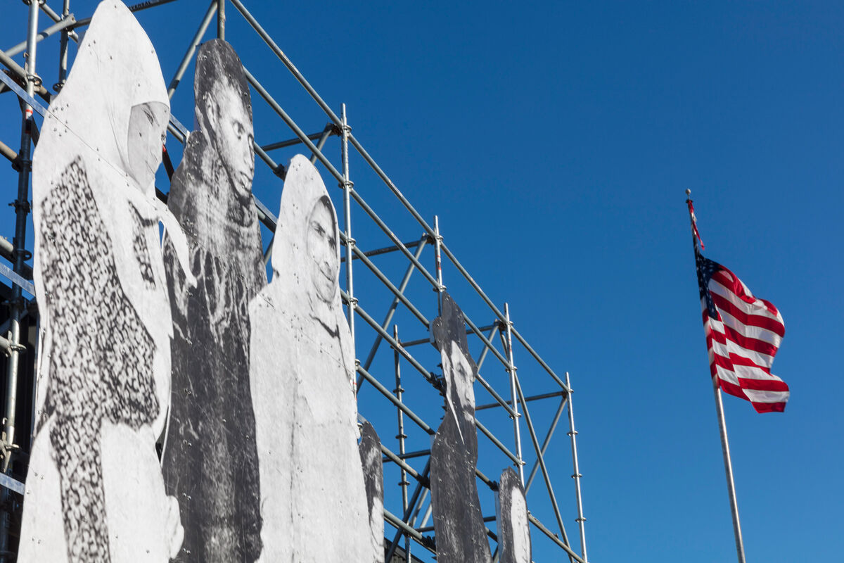 jr mounts a towering monument to refugees at the armory show artsy