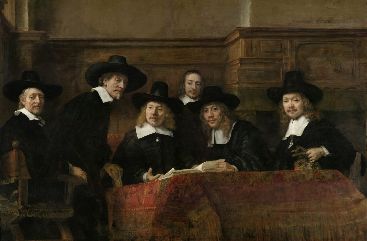 Rembrandt van Rijn, The Sampling Officials of the Amsterdam Drapers' Guild, known as 'The Syndics,'  1662. Courtesy of the Rijksmuseum.