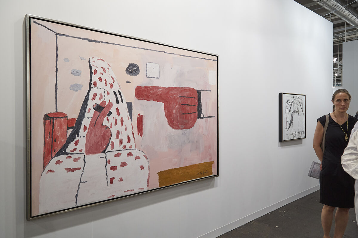 Installation view of Philip Guston, Scared Stiff, 1970, at Hauser & Wirth's booth at Art Basel, 2017. Photo by Benjamin Westoby for Artsy.