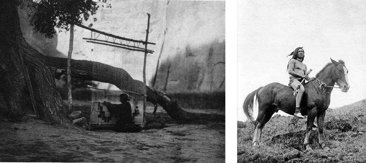 Left: Edward Curtis, Blanket Weaver—Navajo, c. 1904; Right: Edward Curtis, The old-time warrior—Nez Percé, c. 1910. Images via Wikimedia Commons.
