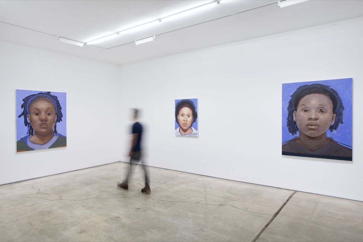 "Installation view of Titus Kaphar's ""Destiny"" series on view at ""Titus Kaphar: Shifting Skies"" at Jack Shainman Gallery, New York. Photo courtesy of Jack Shainman Gallery, New York."
