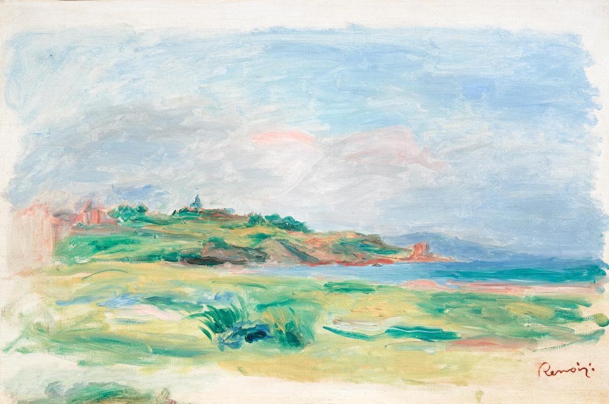 Pierre-Auguste Renoir, Golfe, mer, falaises vertes, 1895. Via Wikimedia Commons.