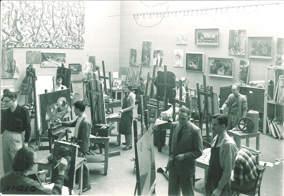 Art students painting in studio with Jackson Pollock mural, University of Iowa, January 10, 1952. Photo by Frederick W. Kent, via the Iowa Digital Library on Flickr.