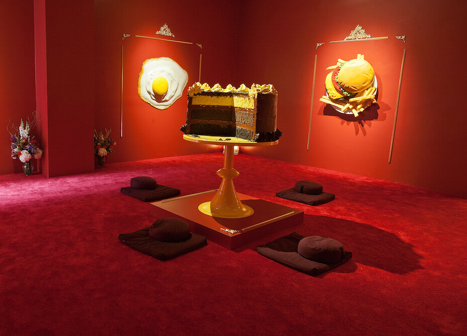 "Installation view of ""The Foodhist Temple,"" courtesy of UNIX Gallery"