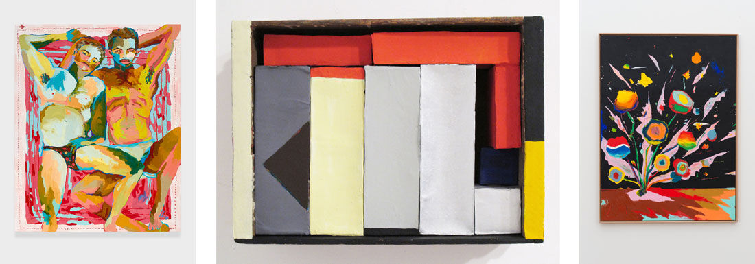 Alex Chaves, James and Shawn, 2015. Image courtesy of NIGHT GALLERY; Nancy Shaver, Red, Yellow, Blue boxes in a box, 2015. Image courtesy of Derek Eller Gallery; Harold Ancart, Untitled, 2015. Image courtesy of C L E A R I N G.