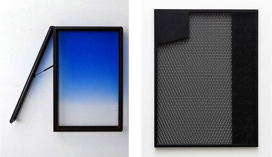 Left:Greg Allen-Muller, hyper realistic straight lines/w blue fade and  kickstand release valve, 2016; Right:Chris Succo,ABLE TO SMILE VERY NATURALLY, 2016. Images courtesy of New Release.