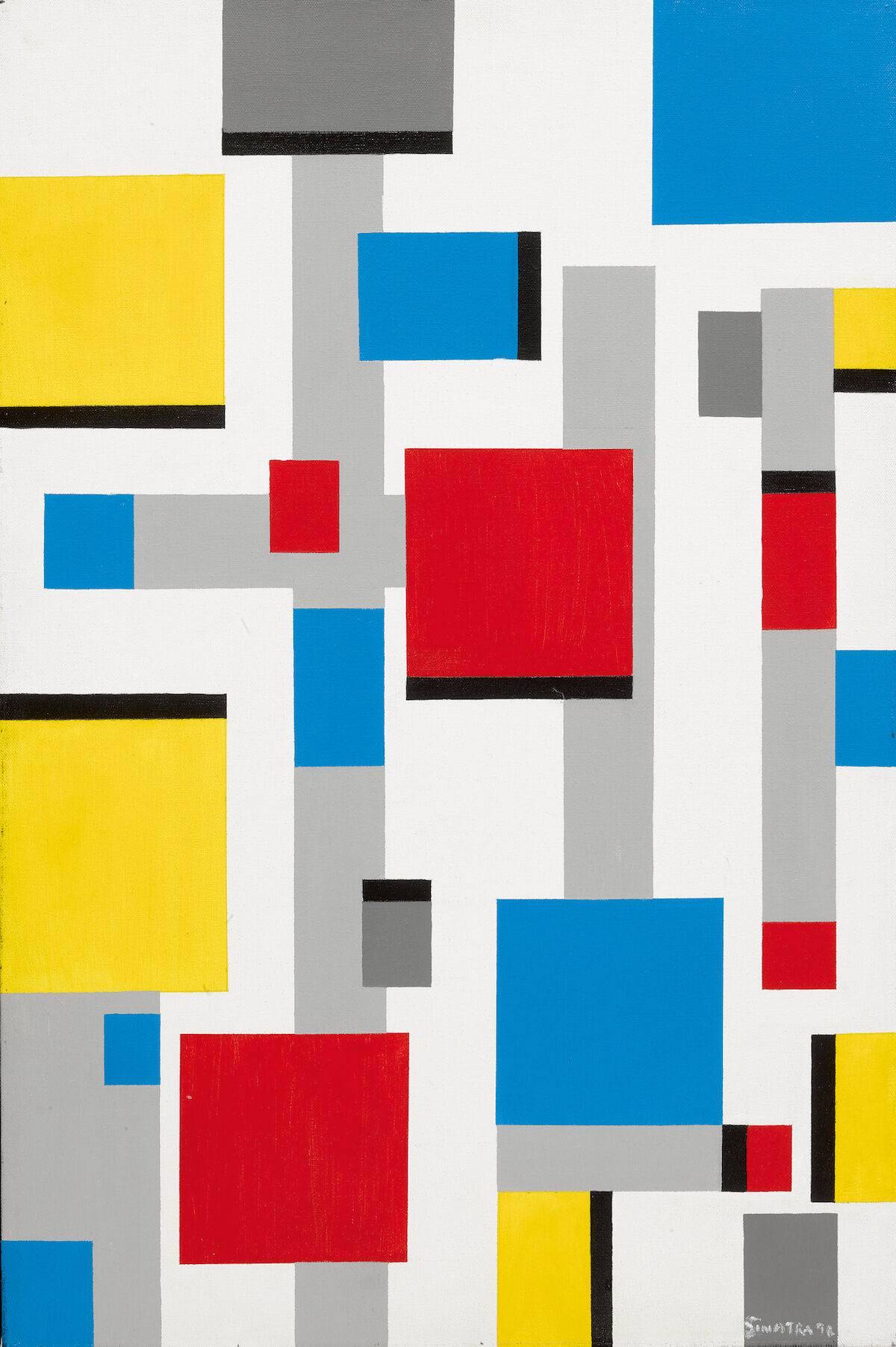 Frank Sinatra, Abstract after Mondrian, 1991, oil on canvas, est. $10,000–$15,000. Courtesy Sotheby's.