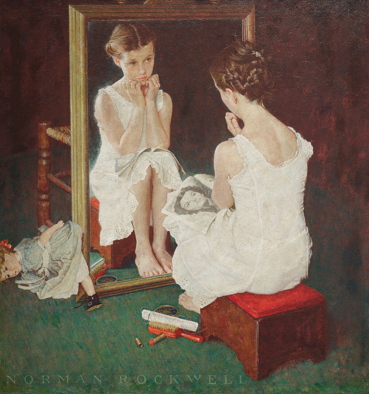 Norman Rockwell, Girl at Mirror, 1954. Cover illustration for The Saturday Evening Post, March 6, 1951. © SEPS: Licensed by Curtis Licensing, Indianapolis, IN. Courtesy of the Norman Rockwell Museum.