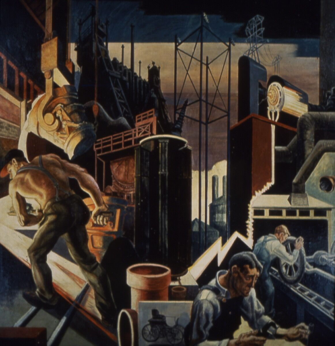 Detail view of Thomas Hart Benton's murals for Indiana University. Courtesy of Kevin Montague/ Sidney and Lois Eskenazi Museum of Art.