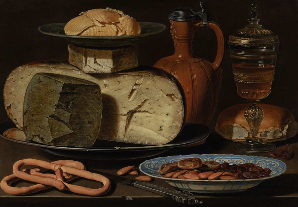 Clara Peeters, Still Life with Cheeses, Almonds and Pretzels, 1615. Courtesy of Mauritshuis.