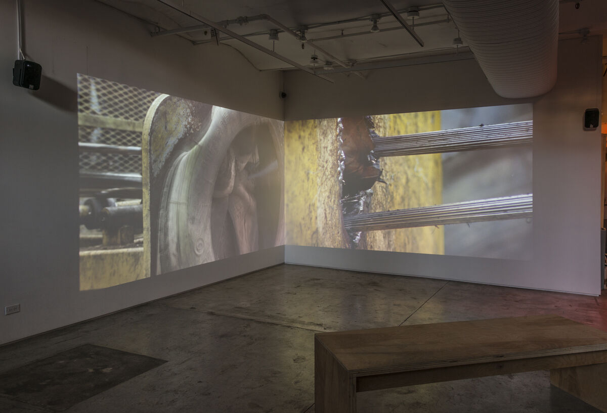 """Zineb Sedira,End of the Road, 2010. Installation view of""""Present Tense"""" at Taymour Grahne, New York. Courtesy of Taymour Grahne and the artist."""