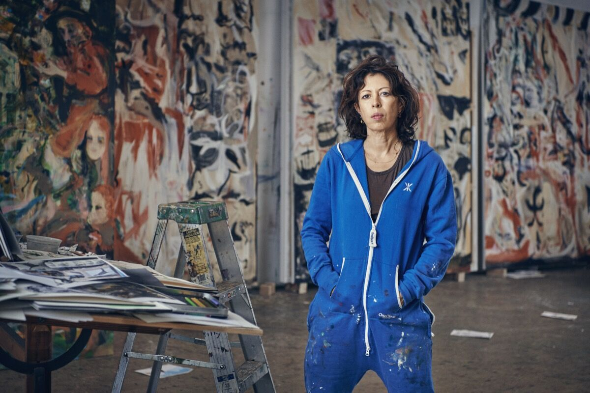 Portrait of Cecily Brown in her studio, 2019. Photo by Tom Lindboe. Courtesy of Blenheim Art Foundation.
