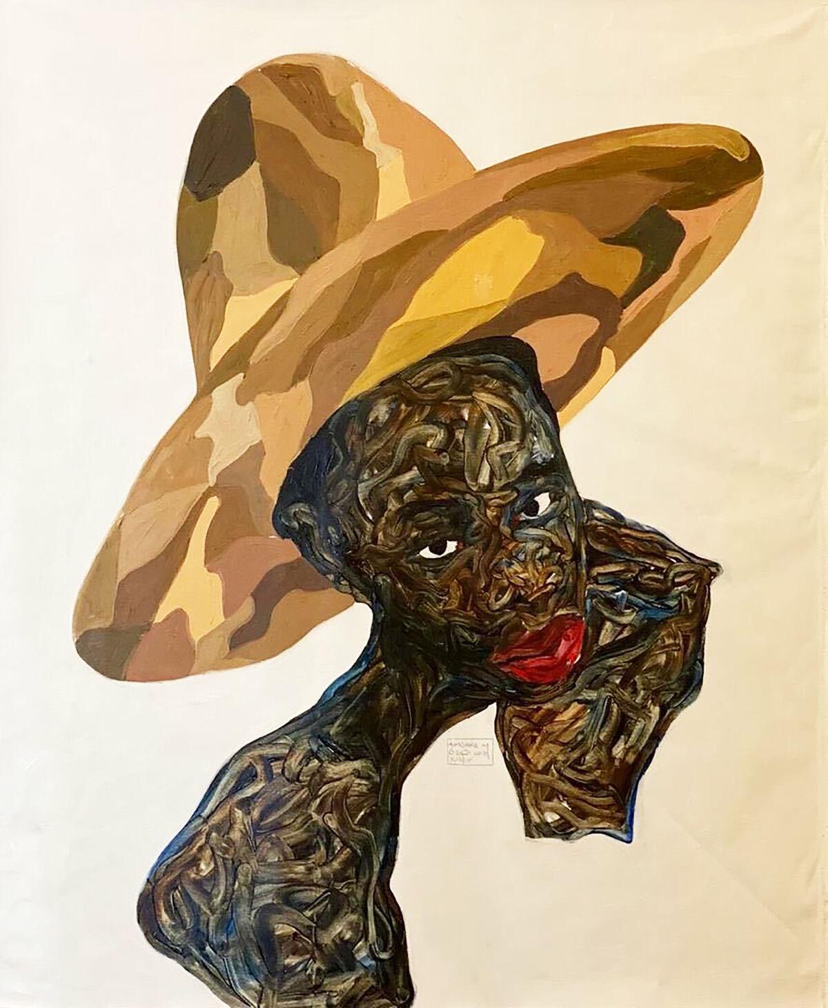 Amoako Boafo, Camouflage Hat, 2020. Courtesy of the artist and Mariane Ibrahim.