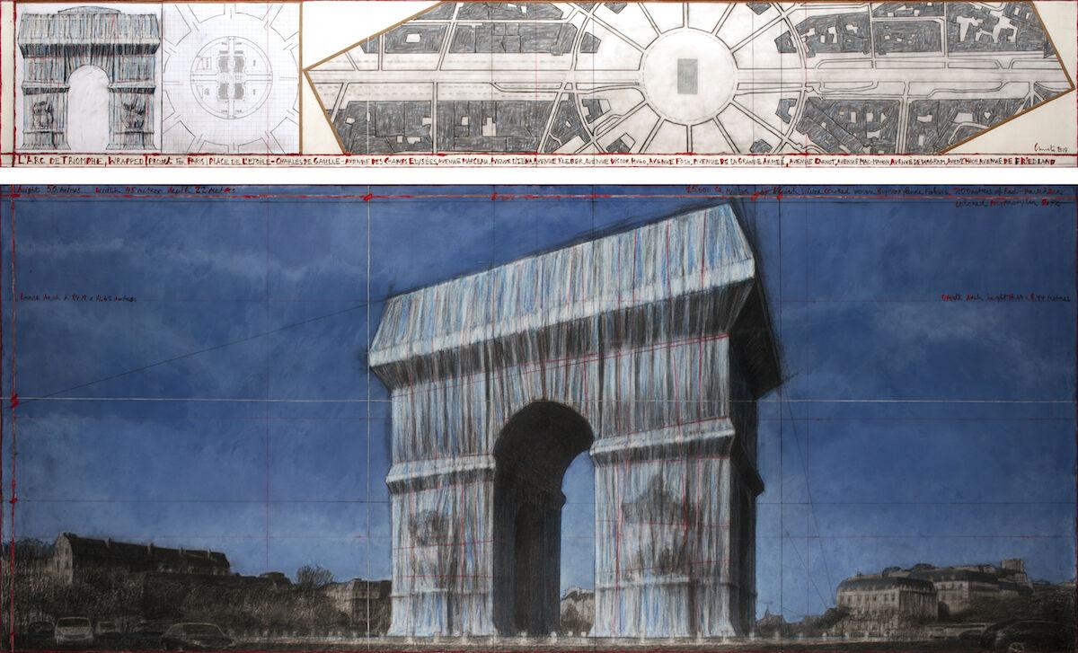 Christo, L'Arc de Triomphe, Wrapped (Project for Paris - Place de l'Etoile – Charles de Gaulle), 2019. Photo by André Grossmann. © 2019 Christo.