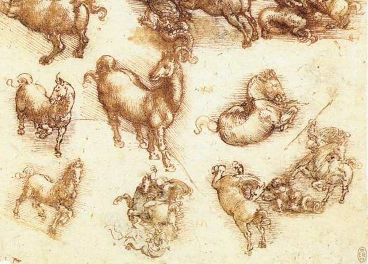 Horses sketched by Leonardo da Vinci.