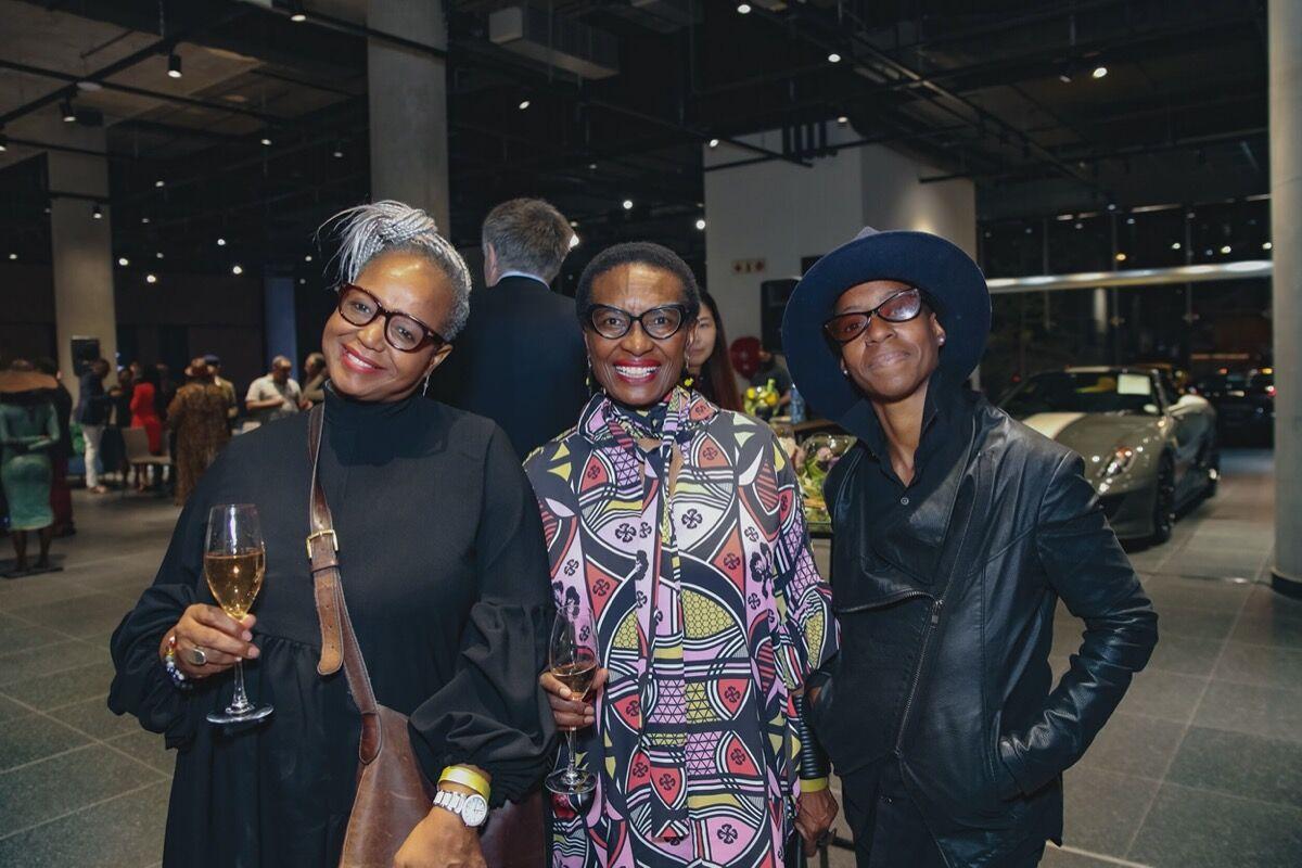 Makgati Molebatsi with International Jazz Day Director Brenda Sisane (left) and visual artist Adejoke Tugbiyele (right), 2019. Courtesy of LATITUDES Art Fair.