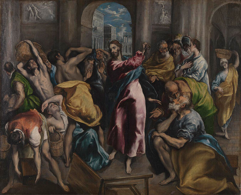 El Greco, Christ driving the Traders from the Temple, about 1600. Courtesy of The National Gallery, London.
