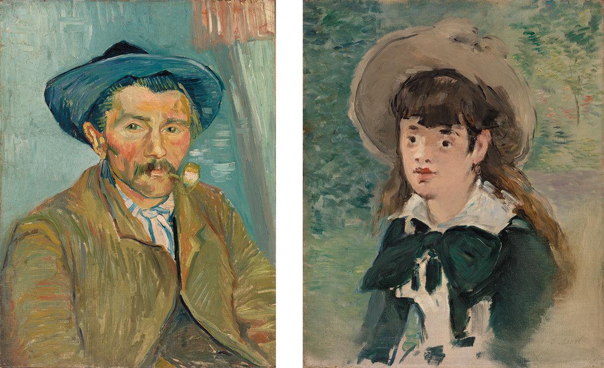 Left:Vincent van Gogh,The Smoker (Le Fumeur), 1888. Right:Édouard Manet,Young Girl on a Bench (Fillette sur un banc), 1880. Images© 2016 The Barnes Foundation.