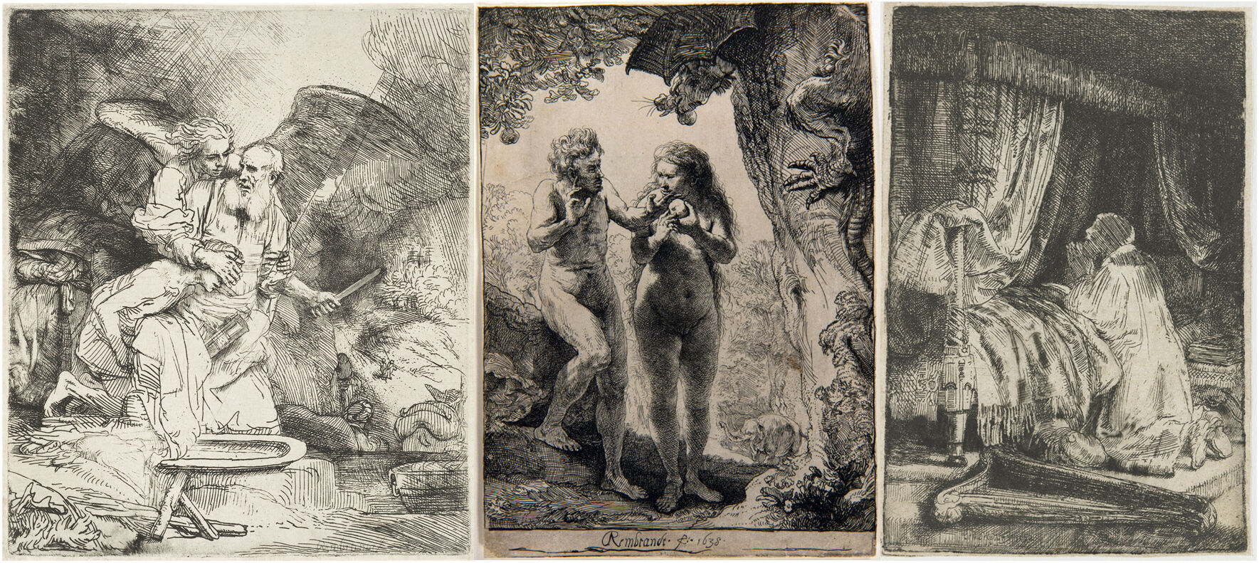 From left to right: Rembrandt van Rijn, The Sacrifice of Abraham, 1655; Adam and Eve,  1638; David at Prayer,  1652. Courtesy of the Rijksmuseum.