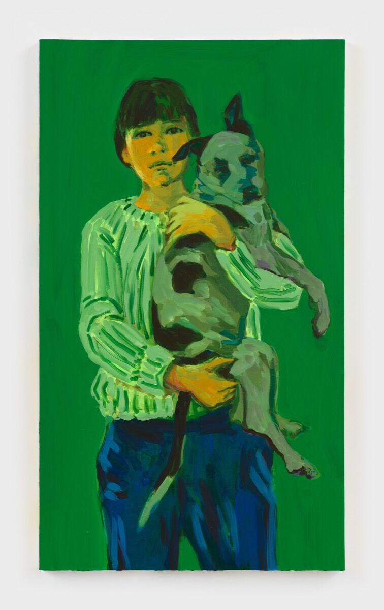 Claire Tabouret, Self-portrait with George (green), 2020. Courtesy of the artist and Jordan Schnitzer Museum of Art.