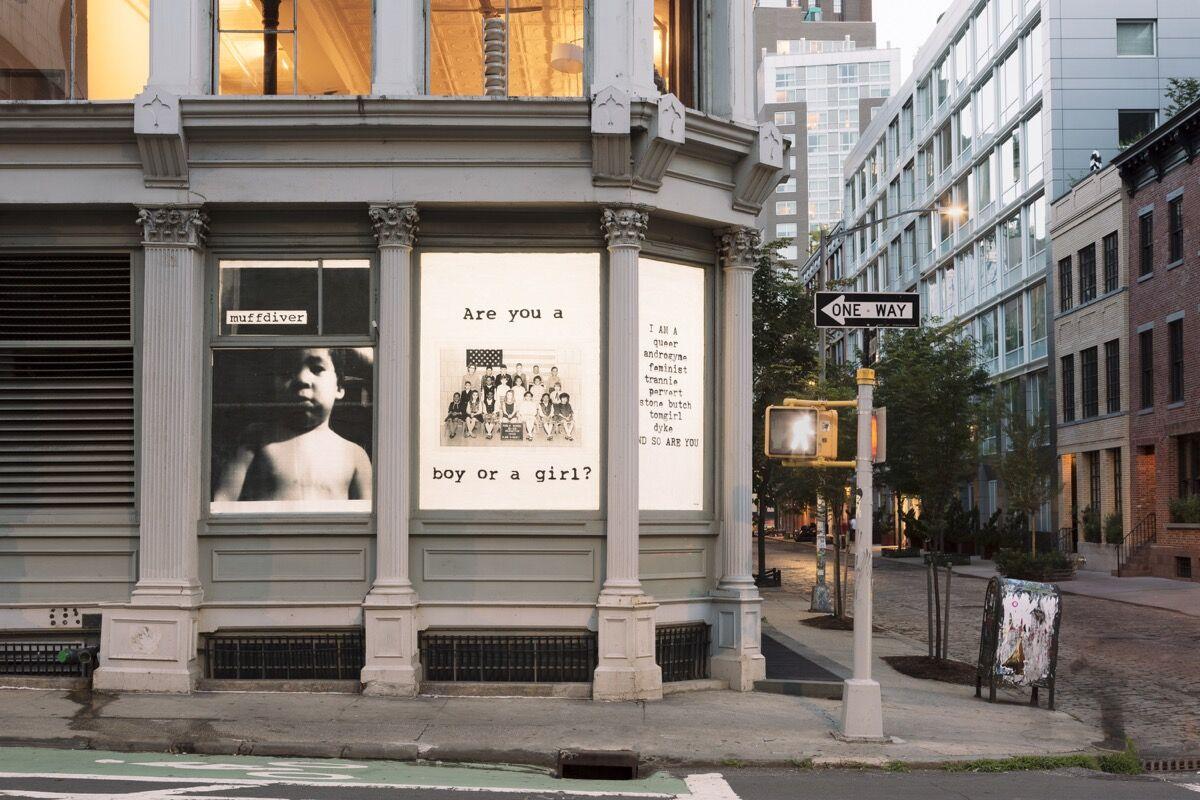 fierce pussy façade installation, Leslie-Lohman Museum. Photo © Kristine Eudey, 2018.