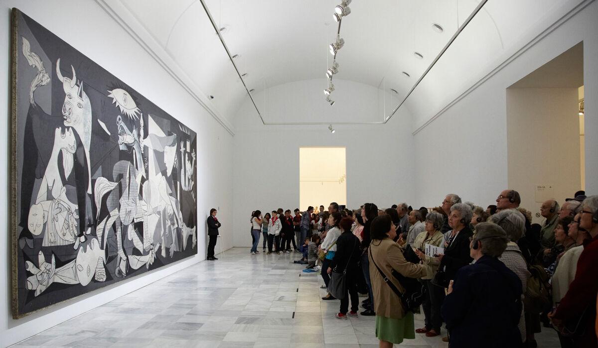 Installation view of Picasso's Guernica. Photo by Joaquín Cortés / Román Lores. Courtesy of Museo Nacional Centro de Arte Reina Sofía.