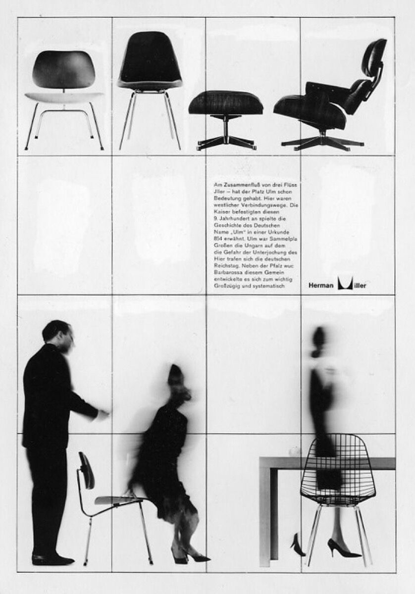 Campaign image for Herman Miller, shot by Ulm photography professor Wolfgang Soil, 1961. Courtesy of HfG-Archiv/Ulmer Museum.