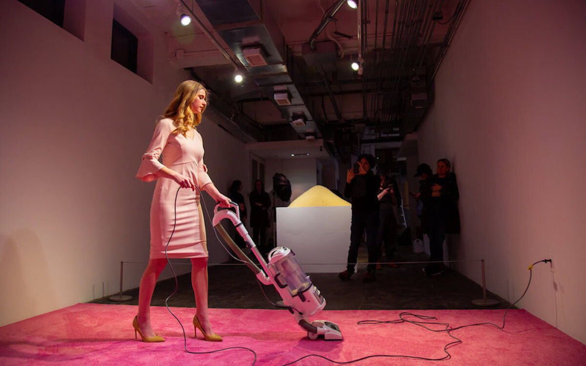 Jennifer Rubell, Ivanka Vacuuming (2019), at the Flashpoint Gallery. Photo by Ryan Maxwell Photography.