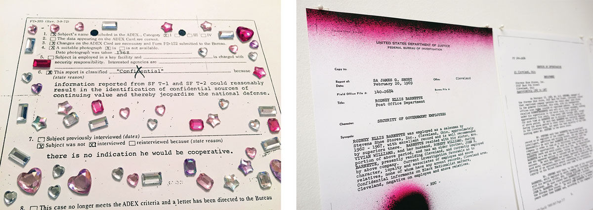 Installation views of Sadie Barnette,My Father's FBI File, Project II, 2017. Images courtesy of Baxter St.