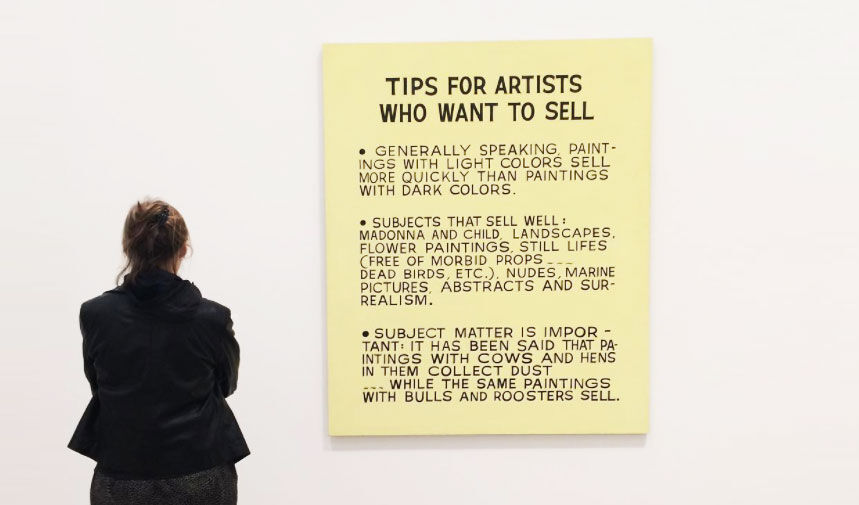 Installation view of John Baldessari, Tips for Artists Who Want to Sell, 1966–68, at The Broad, Los Angeles. Photo by @floraguilbaut, via Instagram.