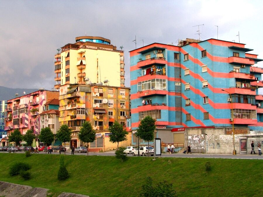 Painted buildings in Tirana, Albania. Photo by David Dufresne, via Flickr.