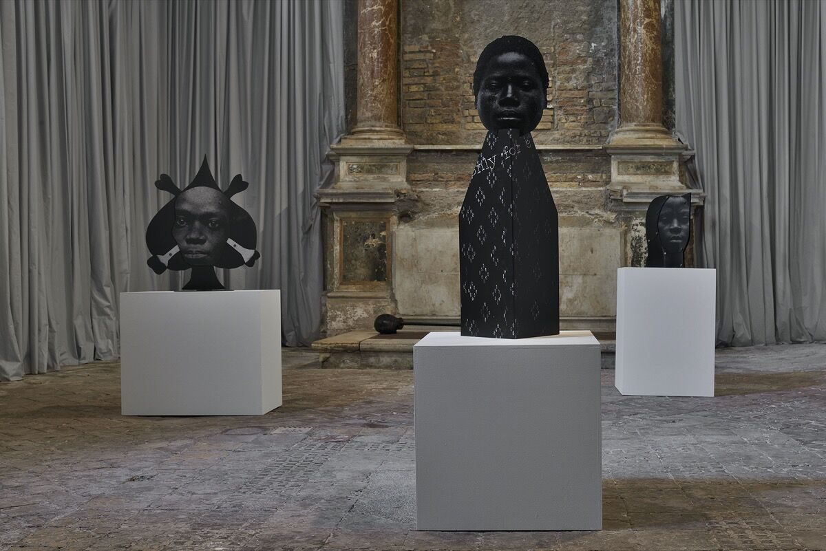 "Frida Orupabo, installation view of ""12 self portraits"" at Sant'Andrea de Scaphis, 2020. Photo by Roberto Apa. Courtesy of the artist and Gavin Brown's Enterprise, New York/Rome."