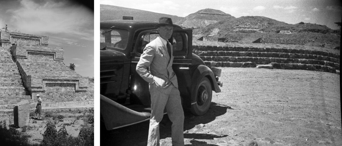 Left:Anni Albers in Mexico, c. 1936-39, photograph by Josef Albers. © 2017 The Josef and Anni Albers Foundation/Artist Rights Society, New York; Right:Josef Albers with the Albers' car, Teotihuacan, Mexico, 1936, photographer unknown. © 2017 The Josef and Anni Albers Foundation/Artist Rights Society, New York. Photos courtesy of the Josef and Anni Albers Foundation.