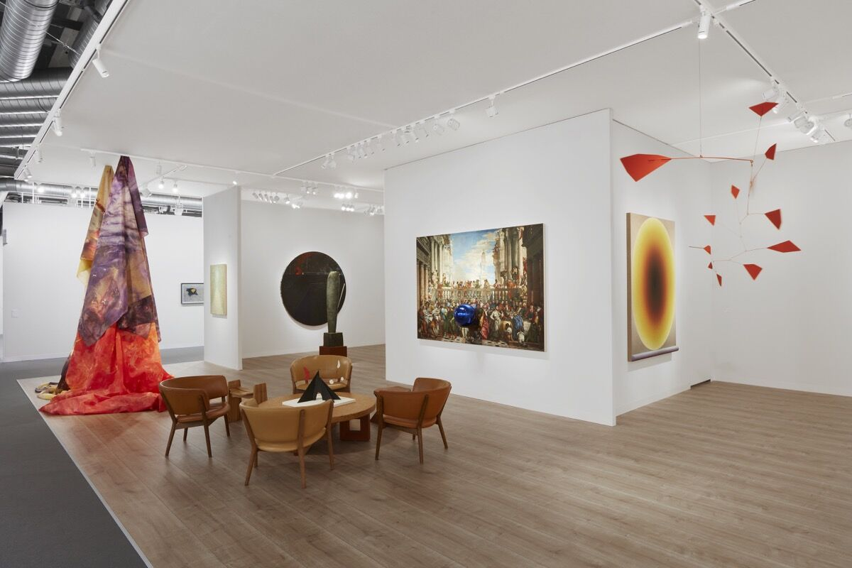 Installation view of Pace Gallery's booth at Art Basel, 2021. Courtesy of Pace Gallery.