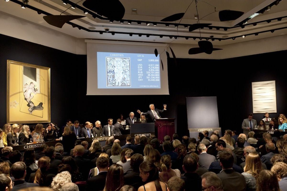 A sale at Christie's London in October 2018. Courtesy Christie's.