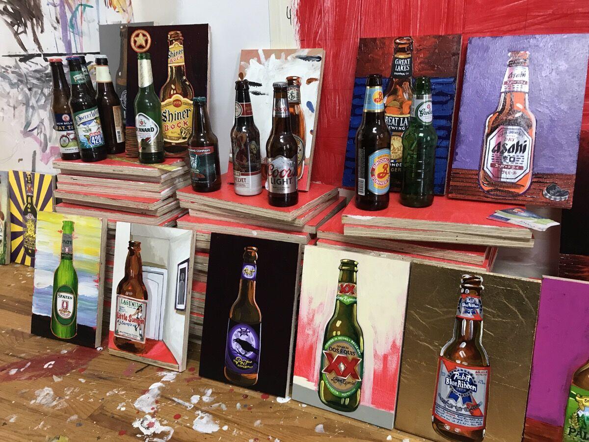 "Works in progress for ""99 Bottles of Beer on the Wall"" at Tom Sanford's studio. Courtesy of Tom Sanford."