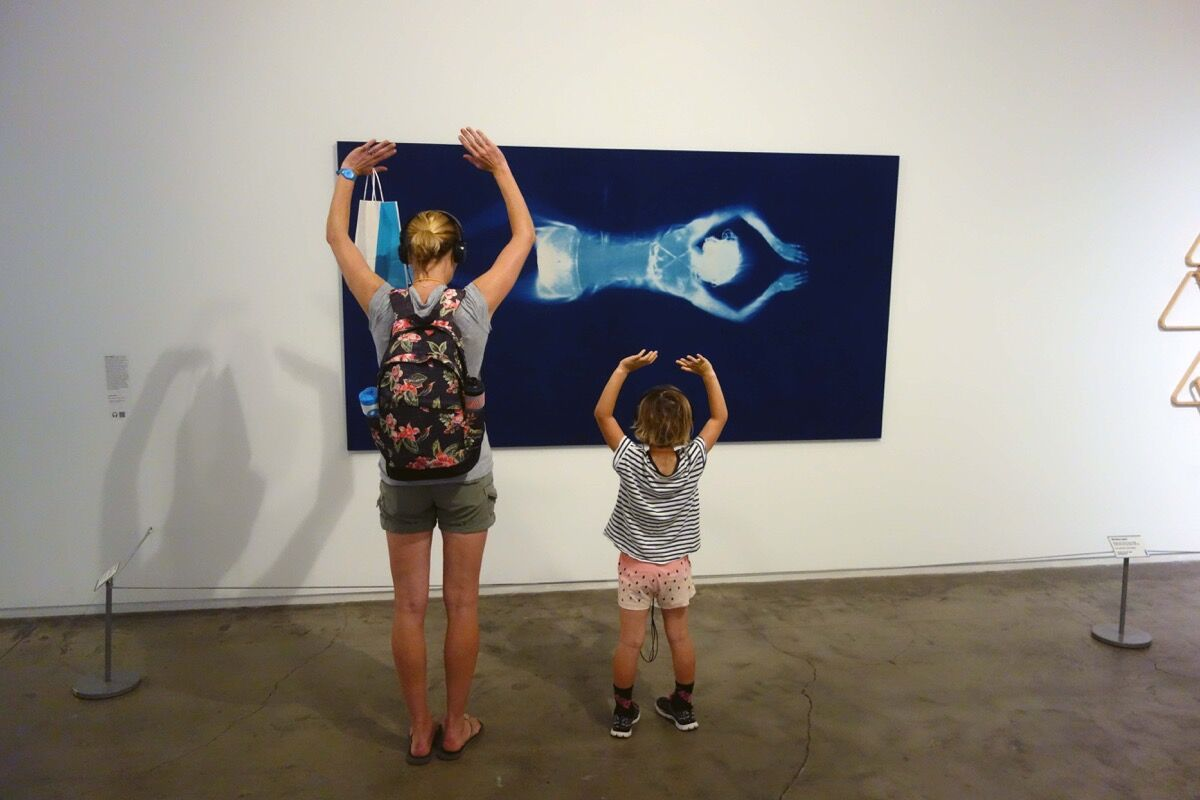 View of Louisa Armbrust's Blue Swimmer. Photo courtesy of Childrens Museum of the Arts.