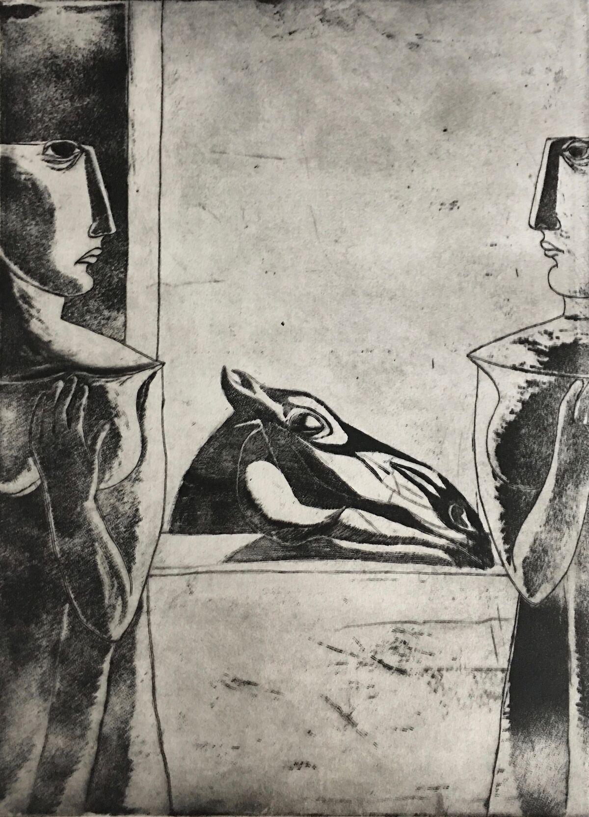 Ahmed Morsi, The Loving Horse, 1996. Courtesy of Gypsum Gallery.