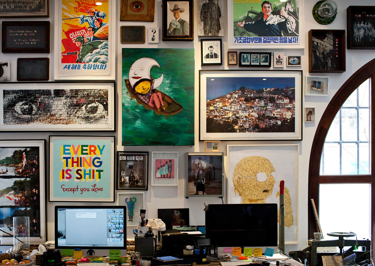 Detail of JR's New York studio. Photo by Alec Bastian for Artsy.