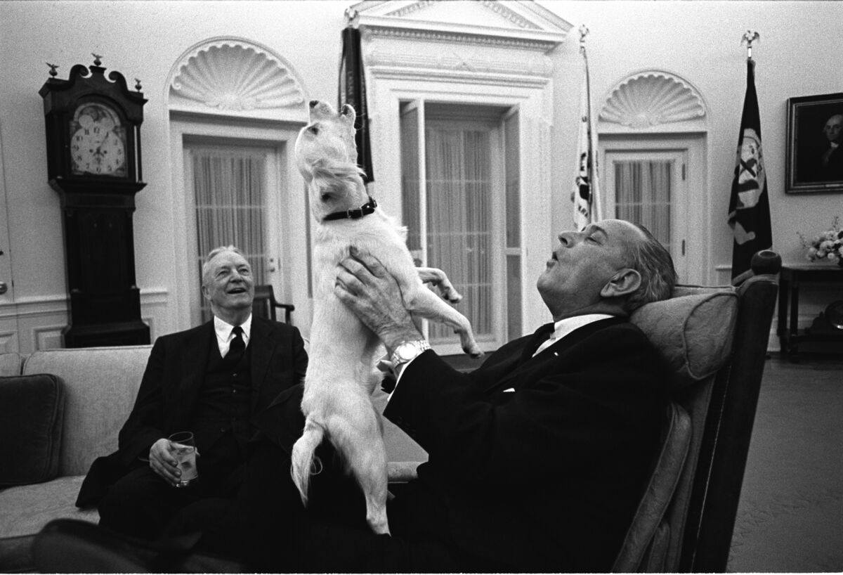 President Lyndon B. Johnson sings with Yuki as Ambassador David Bruce looks on, 1968. Photo by Yoichi Okamoto. Courtesy of the White House Photo Office.