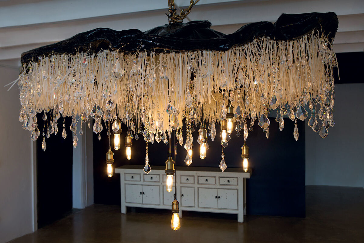 "Ilana Lilienthal, Raindrop Chandelier, Swarovski crystals, gold wire, resin, fiberglass & zip ties; 108"" diameter, Image Courtesy of Lilienthal Gallery"