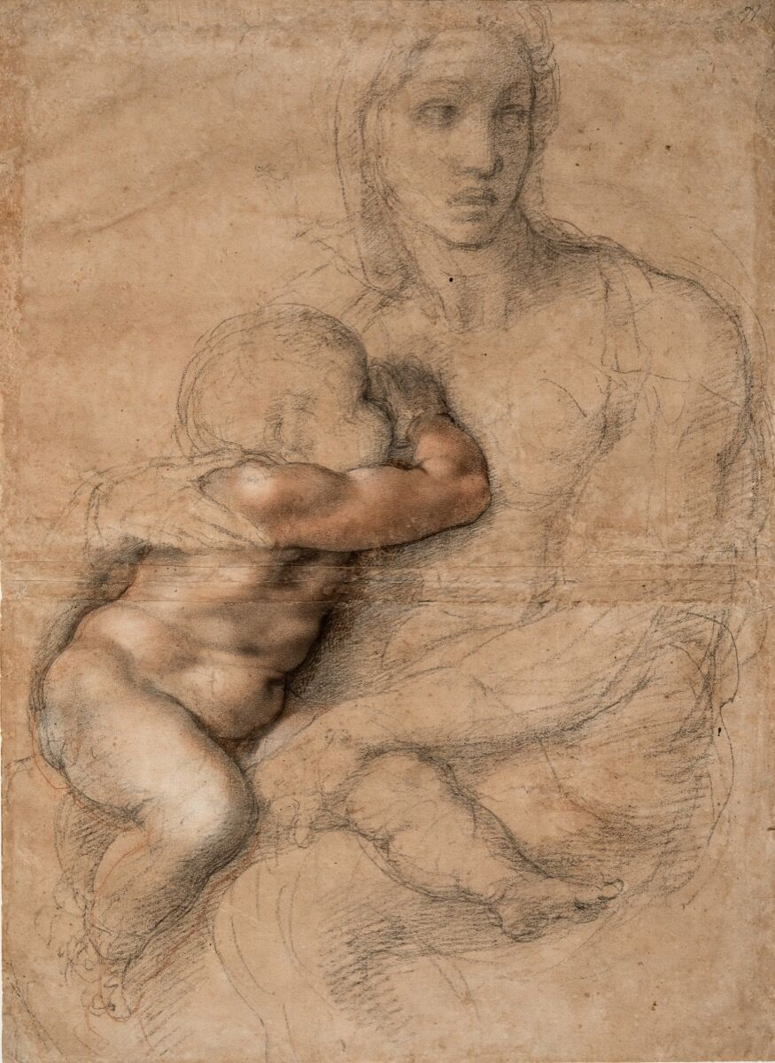 Michaelangelo Buonarroti, Unfinished cartoon for a Madonna and Child, ca. 1525-30. Courtesy of the Metropolitan Museum of Art.