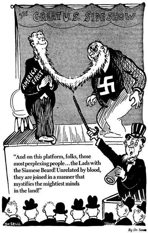 Dr. Seuss, And on this platform, folks, those most perplexing people... the Lads with the Siamese Beard! Unrelated by blood, they are joined in a manner that mystifies the mightiest minds in the land!, 1941. Special Collections and Archives, UC San Diego Library.